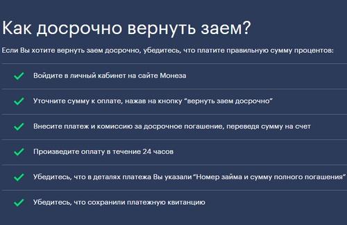 ООО МКК Монеза досрочное погашение микрозайма