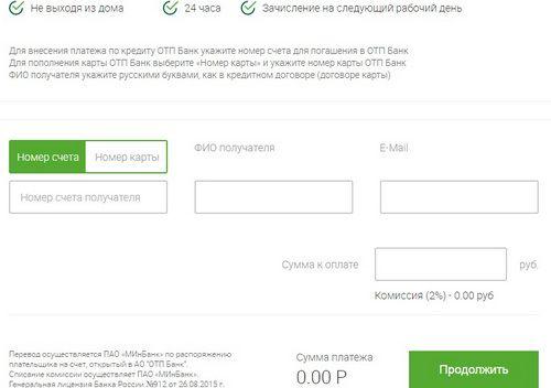 ОТП Банк оплатить кредит через интернет МинБанк