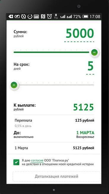 мобильное приложение платиза микрокредиты онлайн срочно на карту