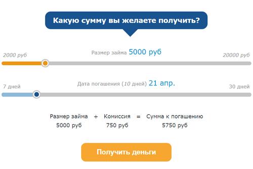выбрать сумму займа на счет