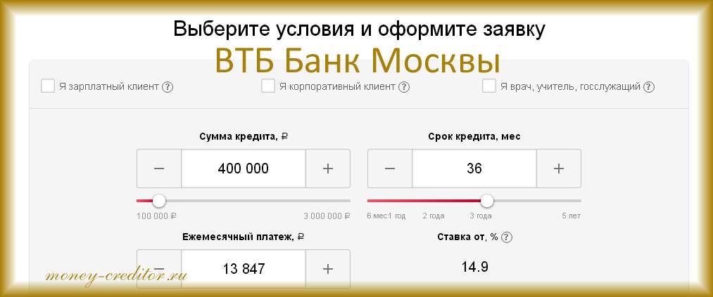 как формируется заявка на кредит онлайн в банк москвы